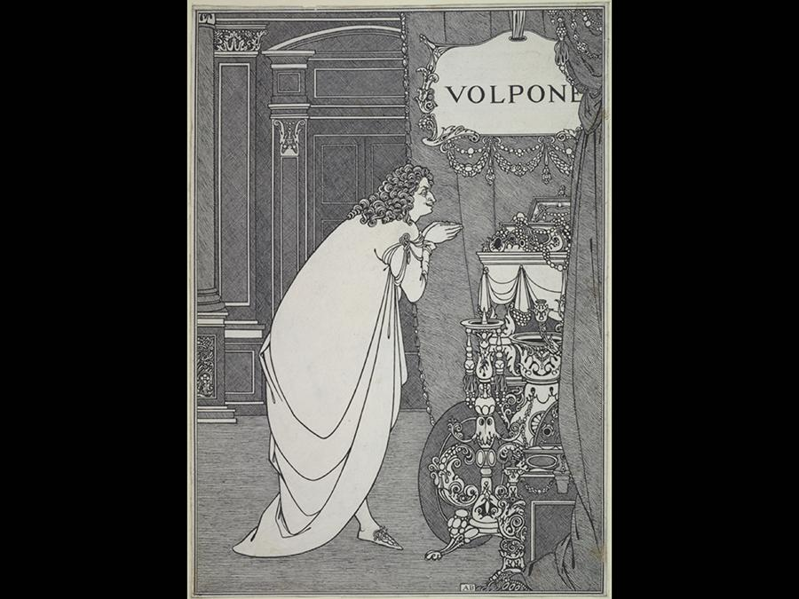 Volpone Adoring his Treasure 1898 . Ink over graphite on paper 290 x 204 mm. Courtesy of the Princeton University Library