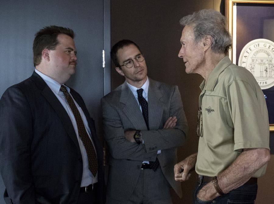 2019 - Richard Jewell -  Paul Walter Hauser,  Sam Rockwell e  Clint Eastwood sul set (COLLECTION CHRISTOPHEL © Claire Folger - Warner Bros. - The Malpaso Company - 75 Year Plan Productions - Appian Way - Misher Films)