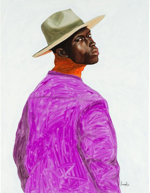 Otis Kwame Kye Quaicoe, Shade of Black, 2018, olio su tela, 122,2 x 91,4 cm, stima 20-30 mila dollari, venduto per 250 mila dollari, Courtesy Phillips