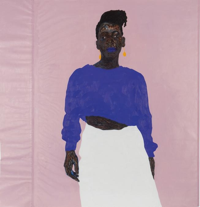 Amoako Boafo, Joy in Purple, 2019, olio su tela, 207 x 196,2 cm, stima 50-70 mila dollari, venduto per 668 mila dollari, Courtesy Phillips