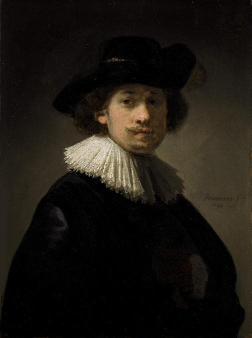 Rembrandt Van Rijn, Self-portra]it, wearing a ruff and black hat, 1632, est. £12-16 million