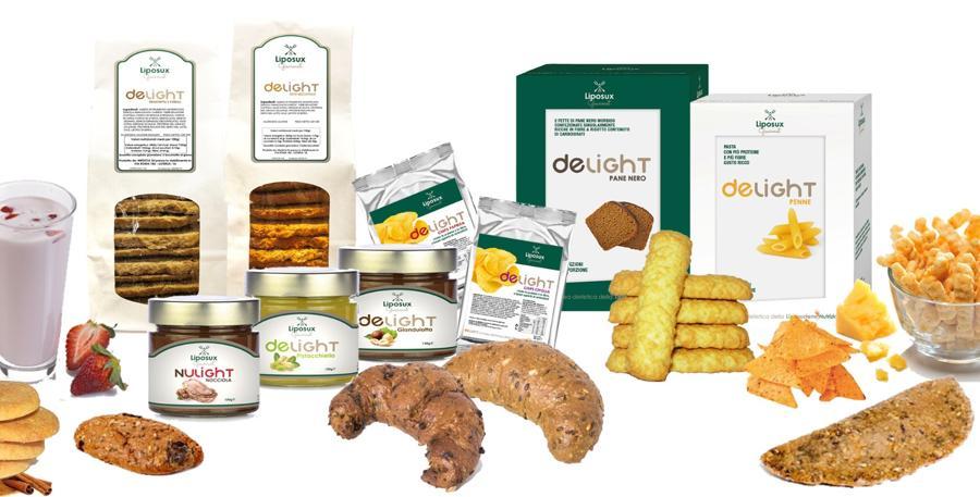 Prodotti deLight, completi di cornetti, biscotti, creme splamabile, pane nero, pasta, tutti a basso contenuto di carboidrati