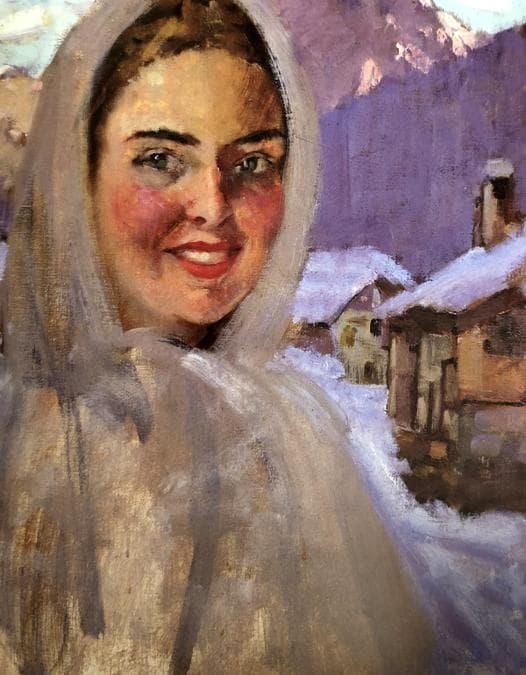 Carla Maria Maggi autoritratto a cortina 1935, olio su tela 60 x 50