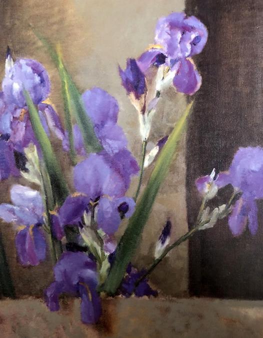 Carla Maria Maggi, Fiori viola 1940, olio su tela 80 x 60 cm