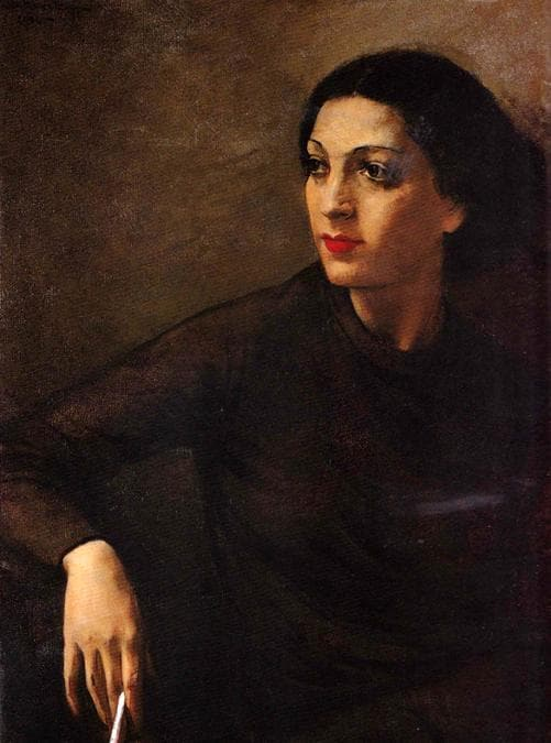 Carla Maria Maggi, La sigaretta 1934, olio su tela 80 x 59 cm