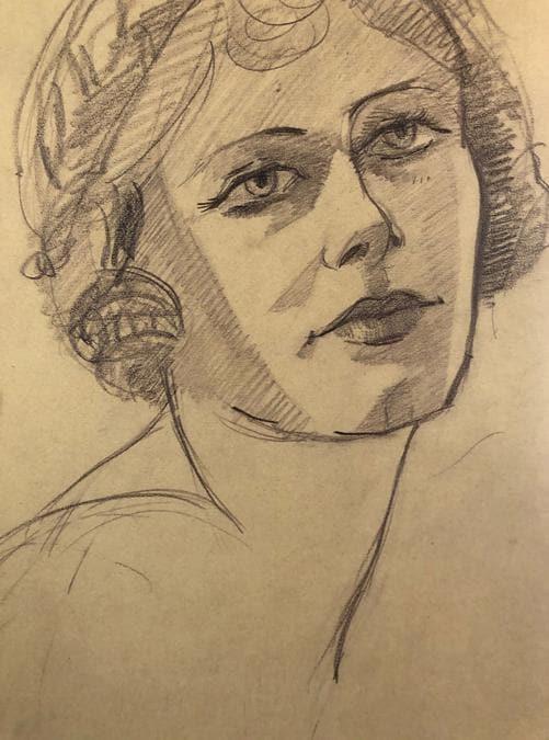 Carla Maria Maggi, Volto femminile, disegno su carta