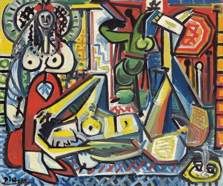 Pablo Picasso (1881-1973), Les femmes d'Alger (version 'F'), 1955. Oil on canvas. 21⅜ x 25⅝ in (54.2 x 65 cm). Sold for $29,217,500 in ONE: A Global Sale of the 20th Century on 10 July 2020 at Christie's in New York. © 2020 Estate of Pablo Picasso / Artists Rights Society (ARS), New York.