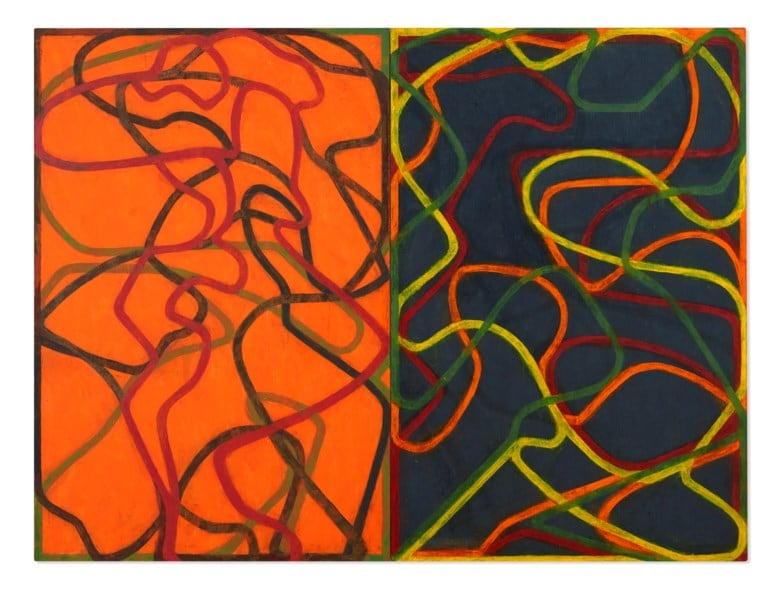 Brice Marden (b. 1938), Complements, 2004-2007. Oil on canvas, in two parts. Each canvas: 72 x 48 in (182.9 x 121.9 cm). Sold for $30,920,000 in ONE: A Global Sale of the 20th Century on 10 July 2020 at Christie's in New York. © 2020 Brice Marden / Artists Rights Society (ARS), New York.
