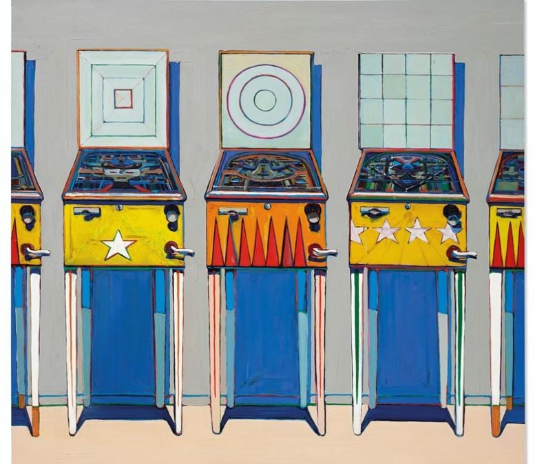Wayne Thiebaud (b. 1920), Four Pinball Machines, 1962. Oil on canvas. 68 x 72 in (172.7 x 182.8 cm). Sold for $20,137,500 in ONE: A Global Sale of the 20th Century on 10 July 2020 at Christie's in New York. © 2020 Wayne Thiebaud / Licensed by VAGA at Artists Rights Society (ARS), NY