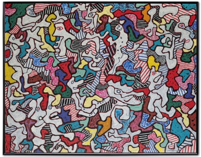 Jean Dubuffet (1901-1985), Pourlèche fiston, 1963. Oil on canvas. 45 x 57⅝ in (114.3 x 146.5 cm). Sold for €6,528,500 in ONE: A Global Sale of the 20th Century on 10 July 2020 at Christie's in Paris. © 2020 Artists Rights Society (ARS), New York / ADAGP, Paris.