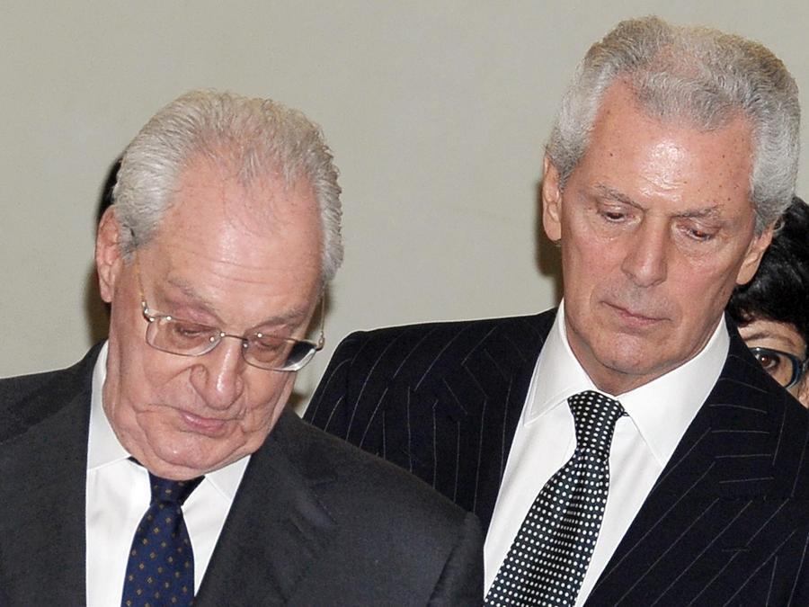 2013- Cesare Romiti e Marco Tronchetti Provera  ad un incontro all'ISPI a Milano. (ANSA/DANIEL DAL ZENNARO)