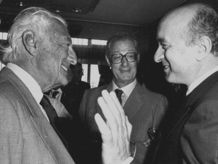 Anni '70 -  Gianni Agnelli, Cesare Romiti e Ciriaco De Mita (Ansa)