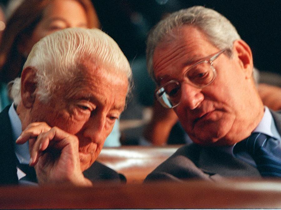 2003 - Il sen. Gianni Agnelli (S) e Cesare Romiti alla presentazione del rapporto della Confindustria sull' economia. (FILIPPO MONTEFORTE / ANSA / CD)
