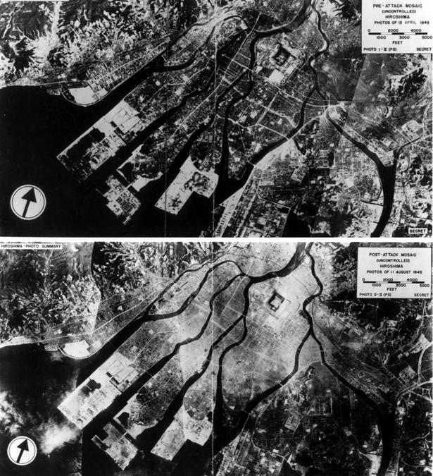 Riprese aeree di Hiroshima prima e dopo il lancio della bomba atomica (The National Archives/Handout via REUTERS)