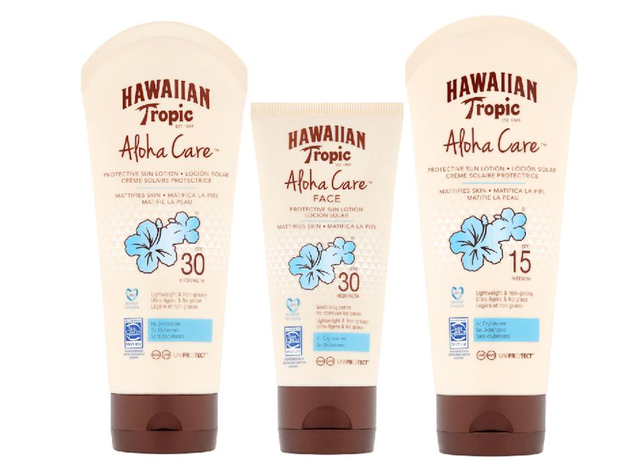 """Hawaiian Tropic Aloha Care, resistente al sudore e all'acqua oltre a proteggere la pelle, è attenta all'ambiente, con formule """"reef friendly"""", prive di oxybenzone e ottinoxato nel rispetto dei mari"""