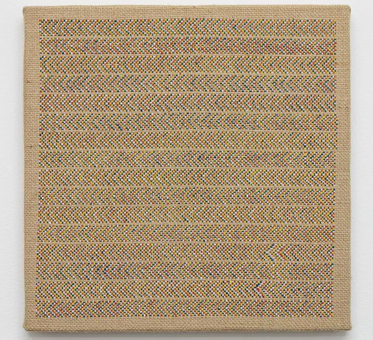 """Alessandro Carano, """"My art"""", 2020, acrilico su iuta, 30x30 cm, opera esposta nella nuova sede di Castiglioni a Milano, fotografia di Filippo Armellin, Courtesy Castiglioni Milano."""