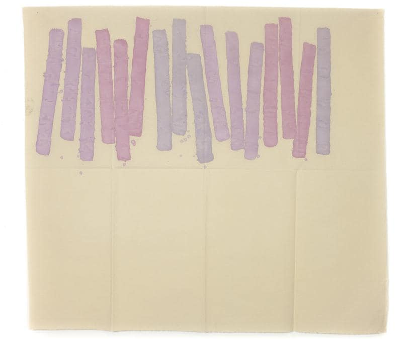 Giorgio Griffa, Quasi verticale, 1977, acrilico su tela, 155 x 173 cm, Courtesy Galleria Lorcan O'Neill