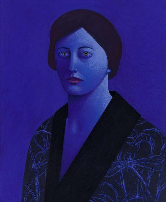 """Nicolas Party, Blue Portrait, 2020, pastello su tela, ©Nicolas Party, Courtesy the artist and Hauser & Wirth, fotografia di Adam Reich, opera esposta nella mostra """"Artists for New York"""" nella nuova sede di Hauser & Wirth a New York, 22nd Street, 2020"""