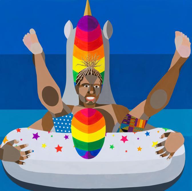 """Derrick Adams, Floater 91, 2020, Courtesy of the artist and Salon 94, New York, opera esposta nella mostra """"Artists for New York"""" nella nuova sede di Hauser & Wirth a New York, 22nd Street, 2020"""
