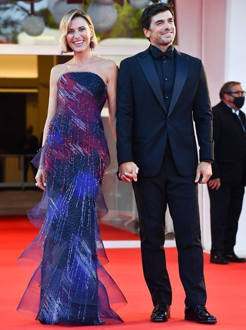 (Anna Foglietta con il marito Paolo Sopranzetti (Photo by Tiziana FABI / AFP)