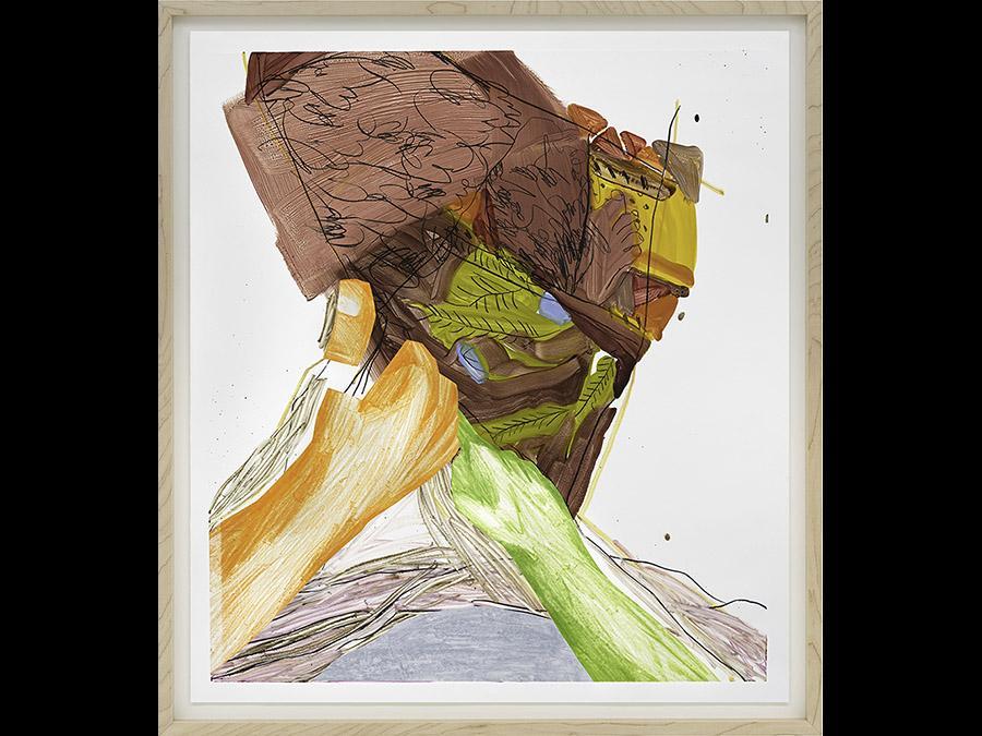 SARAH FAUX - Origin Story, 2019 - Monotype on paper / Monotipo su carta - 91.4 x 81.3 cm - Courtesy Sarah Faux and Capsule Shanghai - copyright  Sarah Faux