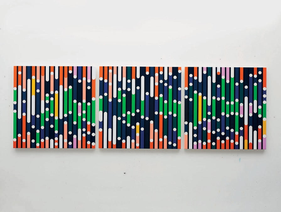 "Sarah Morris, ""War of Roses (Sound Graph)"", 2020, Courtesy: Sarah Morris, in mostra da Galerie Konig durante il Gallery Weekend Berlin 2020"