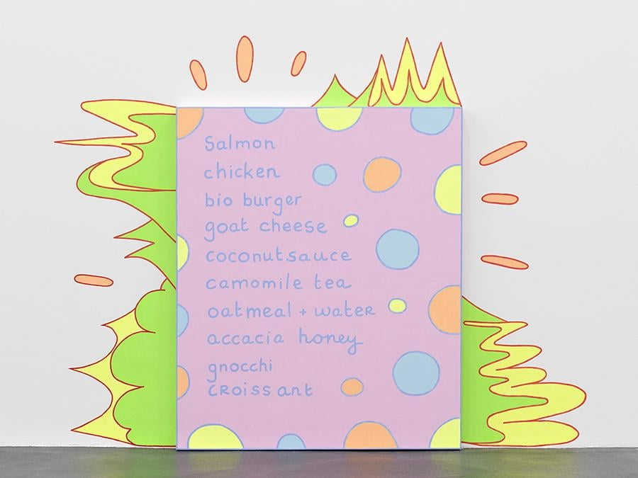 KAUFMANN REPETTO VAN DER STOKKER - Lily van der Stokker  - Shopping List - 2019 - acrylic on wall and wood - 145x189x5,5cm/57.1x74,4x2,2in - Courtesy of the artist and kaufmann repetto Milan / New York - Exhibition view, Migros Museum für Gegenwartskunst, Lily van der Stokker – Help help a little old lady here, November 30, 2019 – February 23, 2020 - Photo: Stefan Altenburger