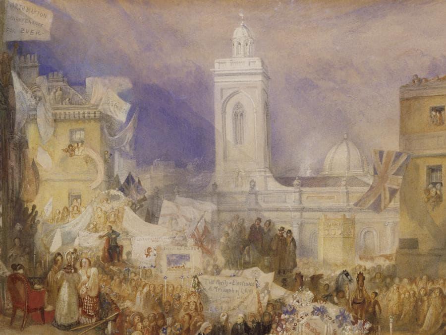 JMW Turner - The Northampton Election, 6 December 1830, c.1830-1, Tate.