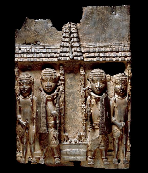Benin brass plaque (16th-17th century) showing Benin court officials flanking a palace entrance or altar. (2020 © Trustees of the British Museum)