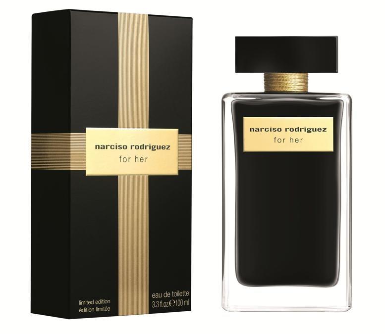 Narciso Rodriguez.Limited Edition natalizia  di For Her con flacone in nero e oro