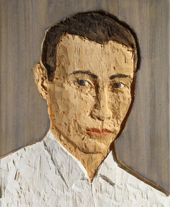 Stephan Balkenhol, Kopfrelief (Mann, blauer Hintergrund), stima 18-24.000 euro, Courtesy Blindarte