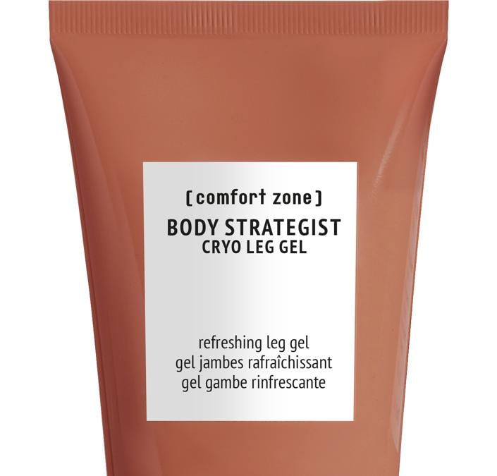 Body Strategist Cryo Leg Gel di Comfort Zone, per un'immediata sensazione di freschezza e leggerezza alle gambe, nella formula l'escina, estratta dai semi dell'ippocastano, protegge la parete dei vasi e stimola il microcircolo