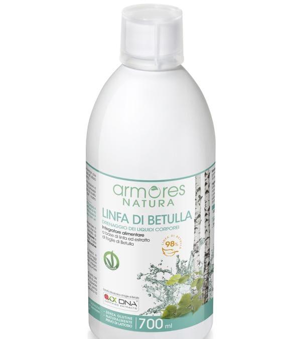 Armores Natura Linfa di Betulla, un liquido da diluire nell'acqua per migliorare la stasi venosa e depurare l'organismo (in vendita su www.qvc.it )