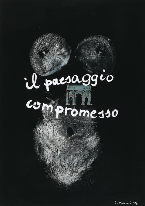 Lucia Marcucci, 1976, «Il paesaggio compromesso», impronte, collage e acrilico su cartoncino
