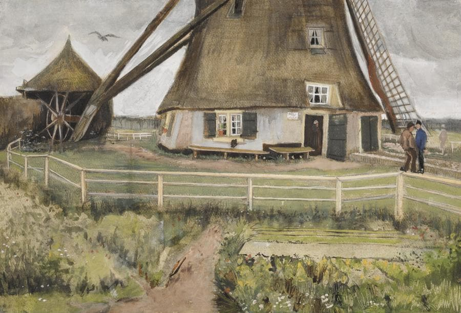 "$2,500,500 (£1,869,113/HK$19,382,218), $2/3 Million. Vincent van Gogh, The ""Laakmolen"" near The Hague, 1882, gouache, watercolor, charcoal and pen and ink on paper, 14¾ by 22 in. Courtesy Sotheby's"