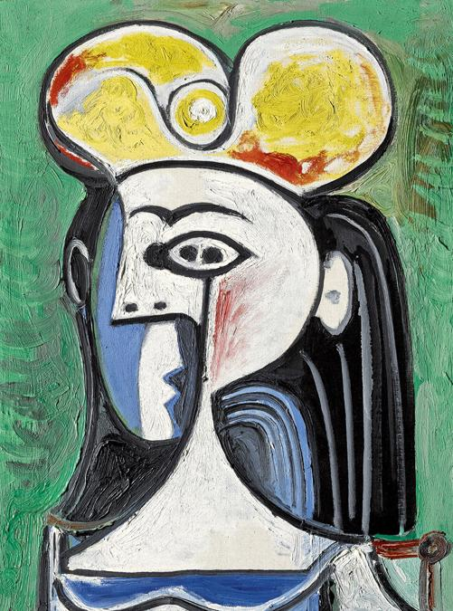 $11,179,500 (£8,356,630/HK$86,656,073), $8/12 Million. Pablo Picasso, Buste de femme assise, 1962, oil on canvas, 28¾ by 21½ in. Courtesy Sotheby's