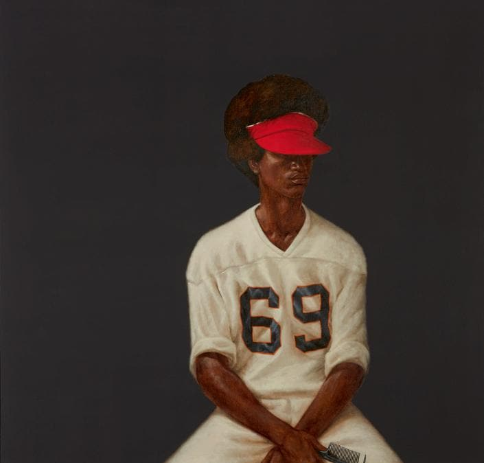 $4,013,000 (£2,999,70/HK$31,106,116), $2/3 Million. Barkley Hendricks, Mr. Johnson (Sammy from Miami), 1972, oil and acrylic on canvas, 60 ¼ by 60 ¼ in. AUCTION RECORD FOR THE ARTIST. Courtesy Sotheby's