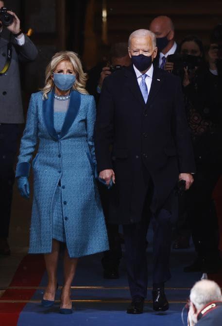 Jill Biden: abito di Alexandra O'Neill, designer emergente con base a New York e direttrice creativa del marchio Markarian (Reuters/Jim Bourg)