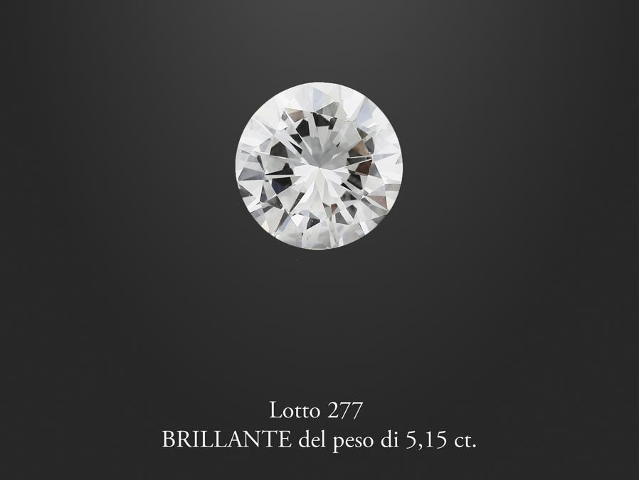 Diamante del peso di ct 5,15, stima 90-130.000 €, venduto a 119.500 €, Courtesy International Art Sale