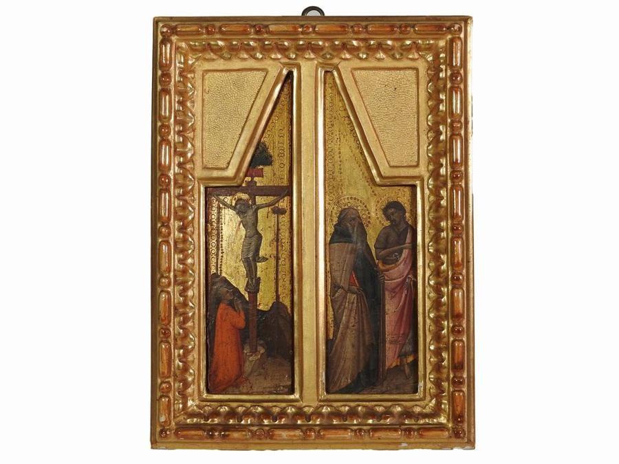 Cerchia di Mariotto di Nardo, Cristo crocifisso con un donatore orante, SS. Antonio Abate e Giovanni Battista, fine del XIV-inizio del XV sec., stima 8-10.000 €, venduto a 137.500 €, Courtesy Maison Bibelot