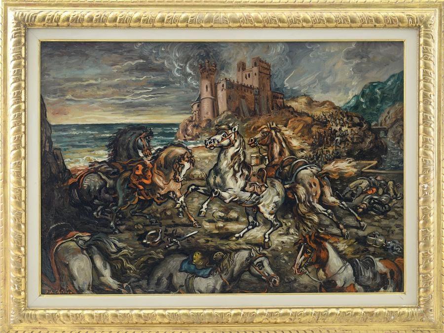 Giorgio De Chirico, Cavalli spaventati dopo la battaglia, 1945 circa, stima a richiesta, venduto a 255.000 €, Courtesy Meeting Art