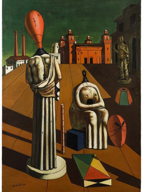 Giorgio De Chirico, Le muse inquietanti, prima metà degli anni '60, stima 350-450.000 €, venduto a 425.100 €, Courtesy Wannenes