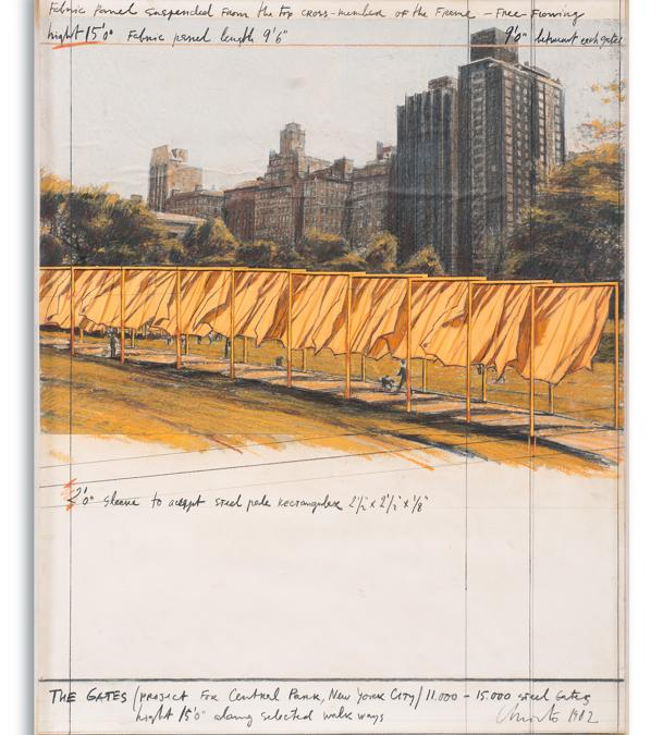 Christo, The Gates, project for Central Park, New York City, 1982, stima 70-100.000 €, venduto a 118.000 €, Courtesy Blindarte