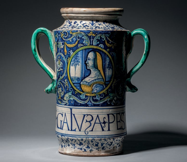 A large doublehandled albarello with portrait roundel and inscribed GALVZA PESTA, Italy, Siena, c.1510-30. Photo: Courtesy of Sam Fogg, London