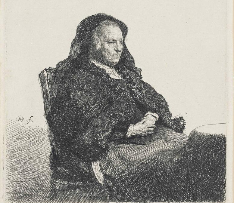 The Artist's Mother, by Rembrandt van Rijn, seated at a table, looking right, etching, c.1631, on laid paper, 14.9cm by 13.1cm