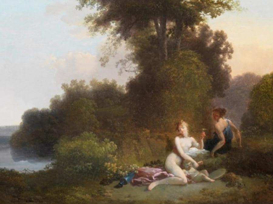 Jacques-Antoine Vallin (Parigi, 1760-1831) Ninfa con Cherubino in un paesaggio arcadico, olio su legno 26X28 cm. L'opera, parte di un dittico è in vendita dall'antiquario romano Paolo Antonacci