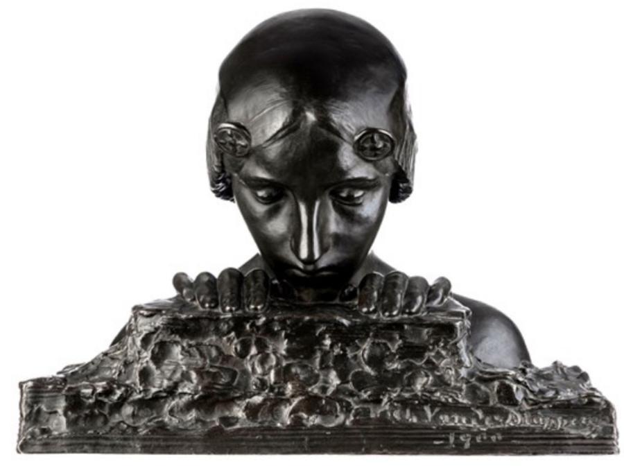 Charles Van der Stappen, The Hidden Treasure, 1900, bronzo nero patinato. Molte vendite per la galleria Artimo Fine Arts di Brussels