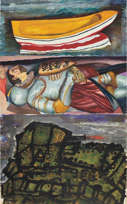 Malcolm Morley, The Boat, The Knight, The Tank, 1990, oil on canvas, 328.0 x 198.0 cm (1291⁄8 x 78 in.), Estimate: £150,000 - 200,000