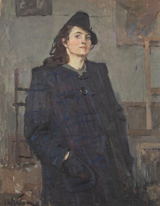 Lotto 83Tatiana Nilovna YablonskaiaSmolensk, 1917 - Kiev, 2005AutoritrattoOlio su tela, cm 105X80Stima € 2.600 – 3.200Aggiudicato a € 20.100