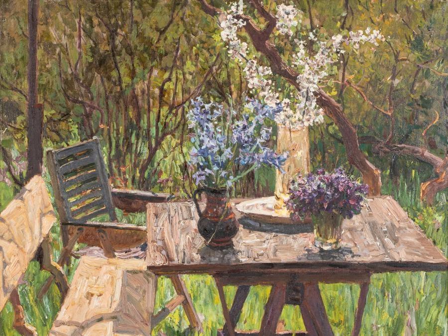 Lotto 89Petr Kuzymich StolyarenkoKaphany, 1925 - ?, 2018Tavolo con fiori nel giardinoOlio su tela, cm 84X90Stima € 1.000 – 1.500Aggiudicato a € 8.850